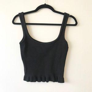 Zara Knit Black Crop Top Ruffle Hem